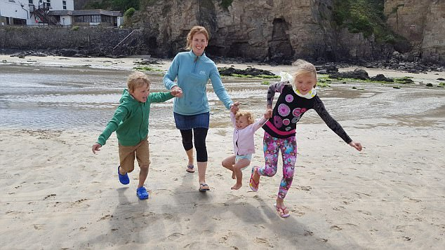 Czech-born wife of missing explorer Benedict Allen, Lenka, with their children, Natalya (10), Freddie (seven) and Beatrice (two)