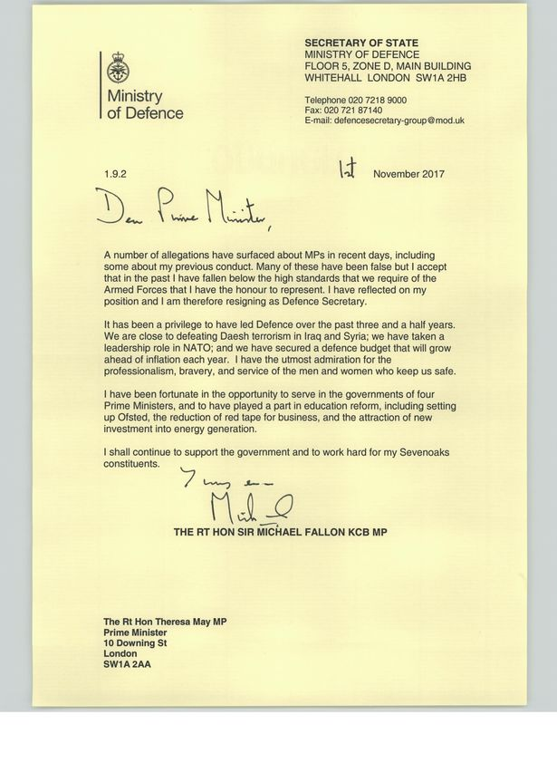 The Defence Secretary's letter to Prime Minister Theresa May